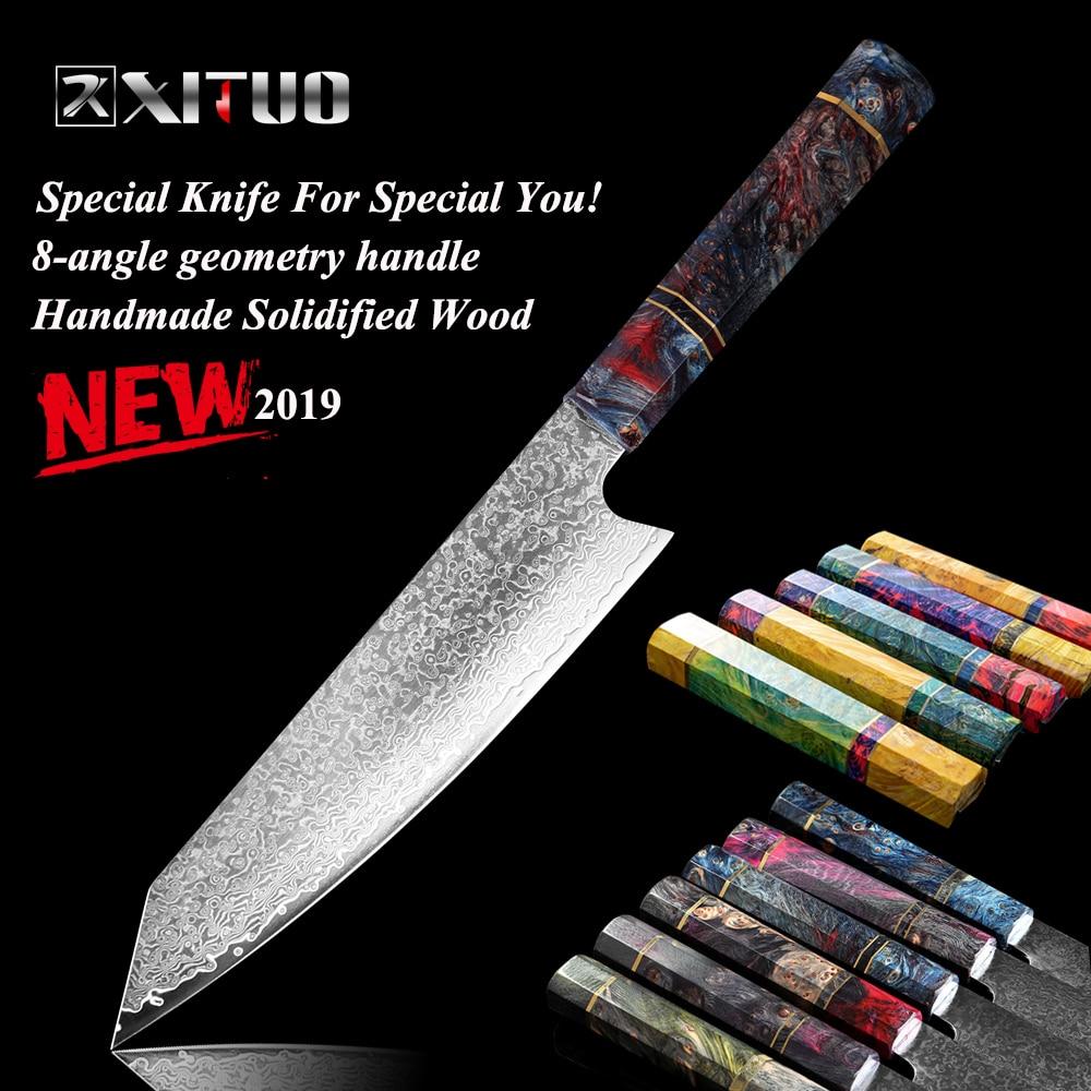 """Couteau de Chef XITUO damas 8 """"pouces couteau de cuisine en acier damas japonais tranchage de saumon couperet de viande Santoku bois solidifié HD"""