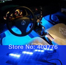 fashion 4x 3 LED Blue Car Auto interior light 4 in1 12V Glow Decorative Atmosphere Lights with car charger free shipping