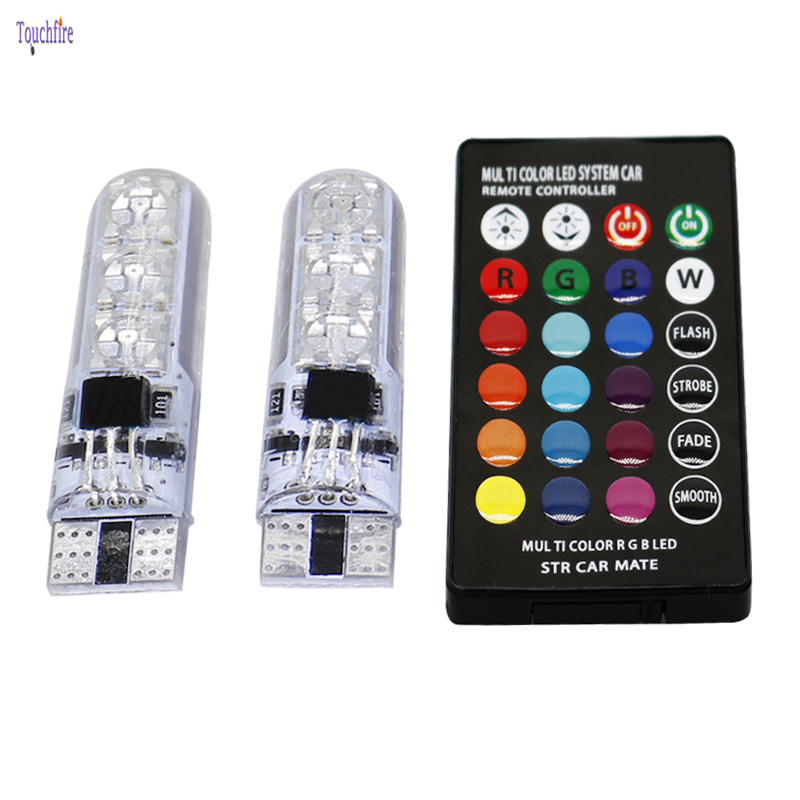 2pcs/set 16 Colors T10 w5w LED car interior light RGB-5050 Auto Signal lamp 12V volvo s40 s80 parking With Remote Control