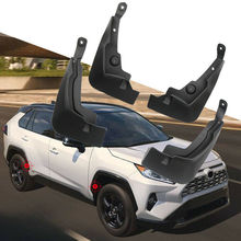 4pcs stylish personality Black Advanced semi-rigid ABS plastic Mud Flaps Mudguard Fenders Front Rear For Toyota RAV4 2019-2020