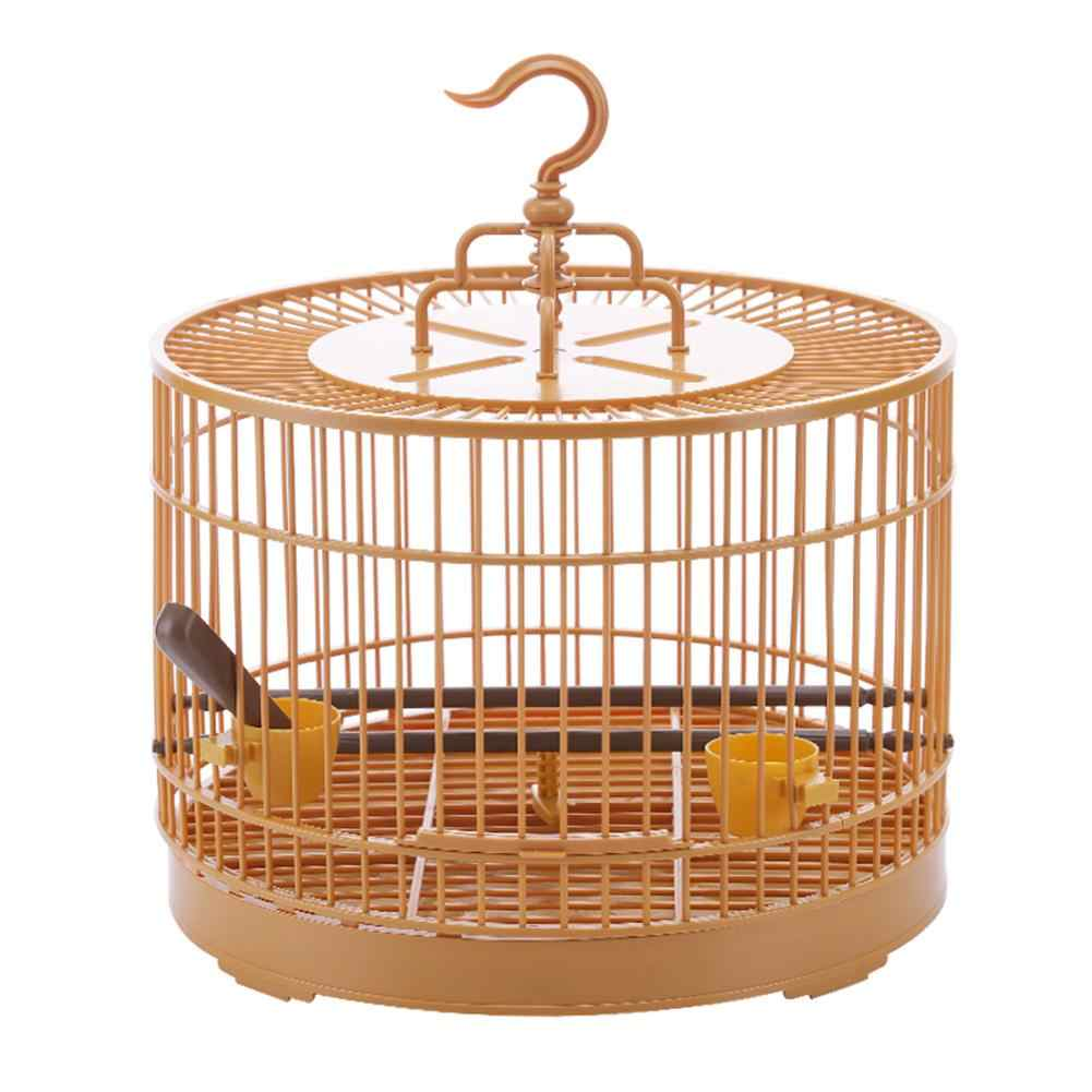Plastic Round Bird Cage With Feeder and Waterer Bird stand Rod kit Pet Parrot Cage Bird feeding supplies Assembly Cage 1 Set