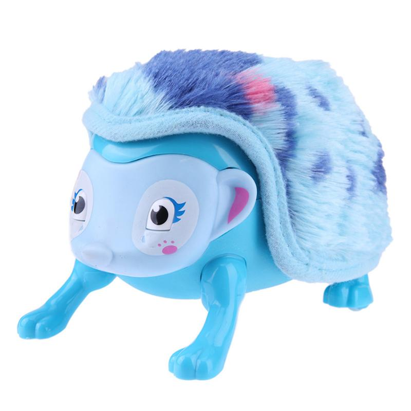 Electronic Sensors Interactive Pet Cartoon Design Hedgehog Toy Intelligent Touch Walk Somersault Light-up Plush Soft Toys
