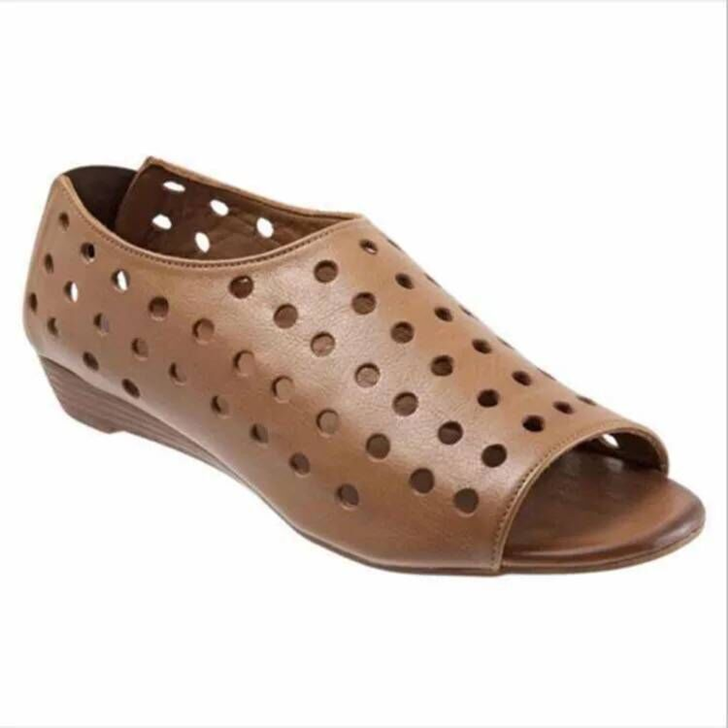 Women <font><b>Sandals</b></font> 2019 Women Gladiator Shoes Hollow Leather Summer <font><b>Flat</b></font> Fish <font><b>Sandals</b></font> Open Toe <font><b>Sexy</b></font> <font><b>Sandals</b></font> Femme Plus Size 35-43 image