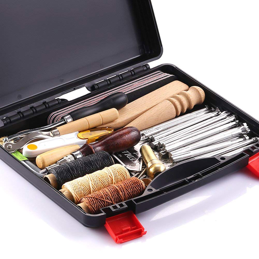 59 Pcs/Set Leather Craft Hand Tools Kit for Hand Sewing Stitching Stamping Saddle Making JDH99
