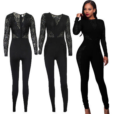 8284008d7dff Women Jumpsuit Romper Clubwear Playsuit Bodycon Party Trousers Backless  Long Sleeve Lace Clothing