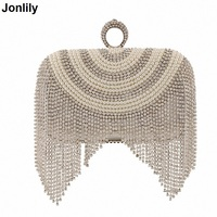NEW Tassel Rhinestones Bridal Day Clutch Women Evening Bags Beaded Luxury Ladies Handbags Pearl Golden Vintage Party Bag LI 1243