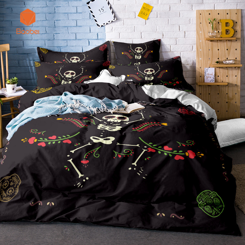 3D Skull Halloween series Flowers Soft bedding sets Comfortable Duvet Cover With Pillowcases Queen King Size Bed Covers SJ132