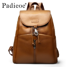 Padieoe New Designer Shoulder Bags for Girls Fashion Women Backpack  with String Genuine Leather Backpack Female High Quality