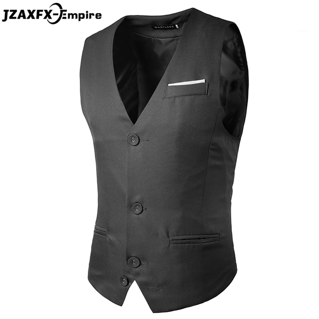 2017 Men Vest Suit Waistcoats Blazers Jackets Slim fit Business Vest chaleco hombre vests for men High Quality