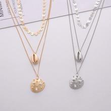 купить Gold Metal Handmade Round Disc Sealife Seashell Sea Snail Conch Pendant Necklace Korean Summer Fashion Women Pearl Jewelry дешево