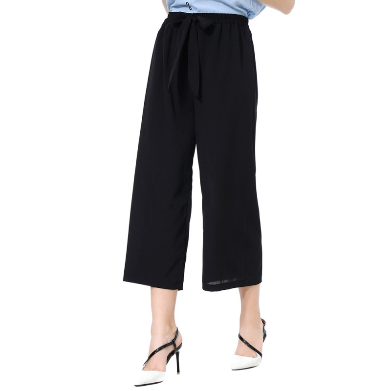 High Waist Stripe   Wide     Leg     Pants   Women Calf-Length Trousers Streetwear Casual   Pants