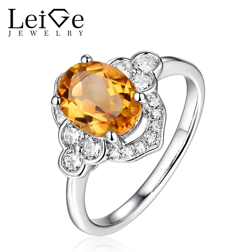 Leige smykker Natural Citrine Ring November Birthstone Yellow Quartz - Fine smykker