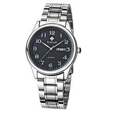 2017 Nueva Marca Reloj de Los Hombres Fecha Día Relojes Horas Reloj Vestido reloj de Cuarzo Ocasional de Acero Inoxidable Watces Reloj Deportivo Number Padre