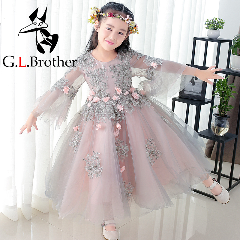 Flower Girl Dress Floral Long Sleeve Clothes Girls 2018 Kids Girl Wedding Party Dresses Gown Children Formal Wear Costume JL22 new baby girl formal wear dress children kids prom dresses for girls clothes flower girl party dress wedding ball gown clothes