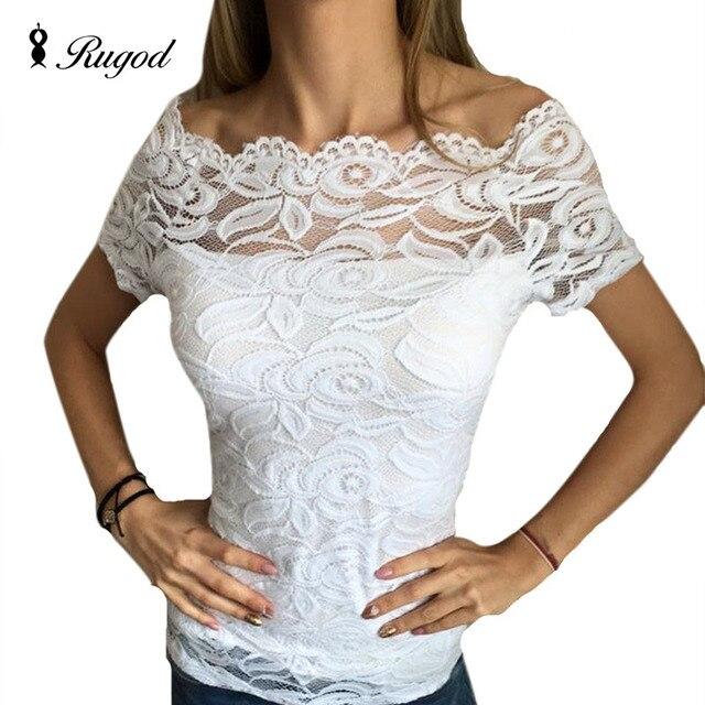Rugod 2017 moda mulheres sexy lace blusas de manga curta floral patchwork solta t-shirt de algodão encabeça blusas femininas do vintage