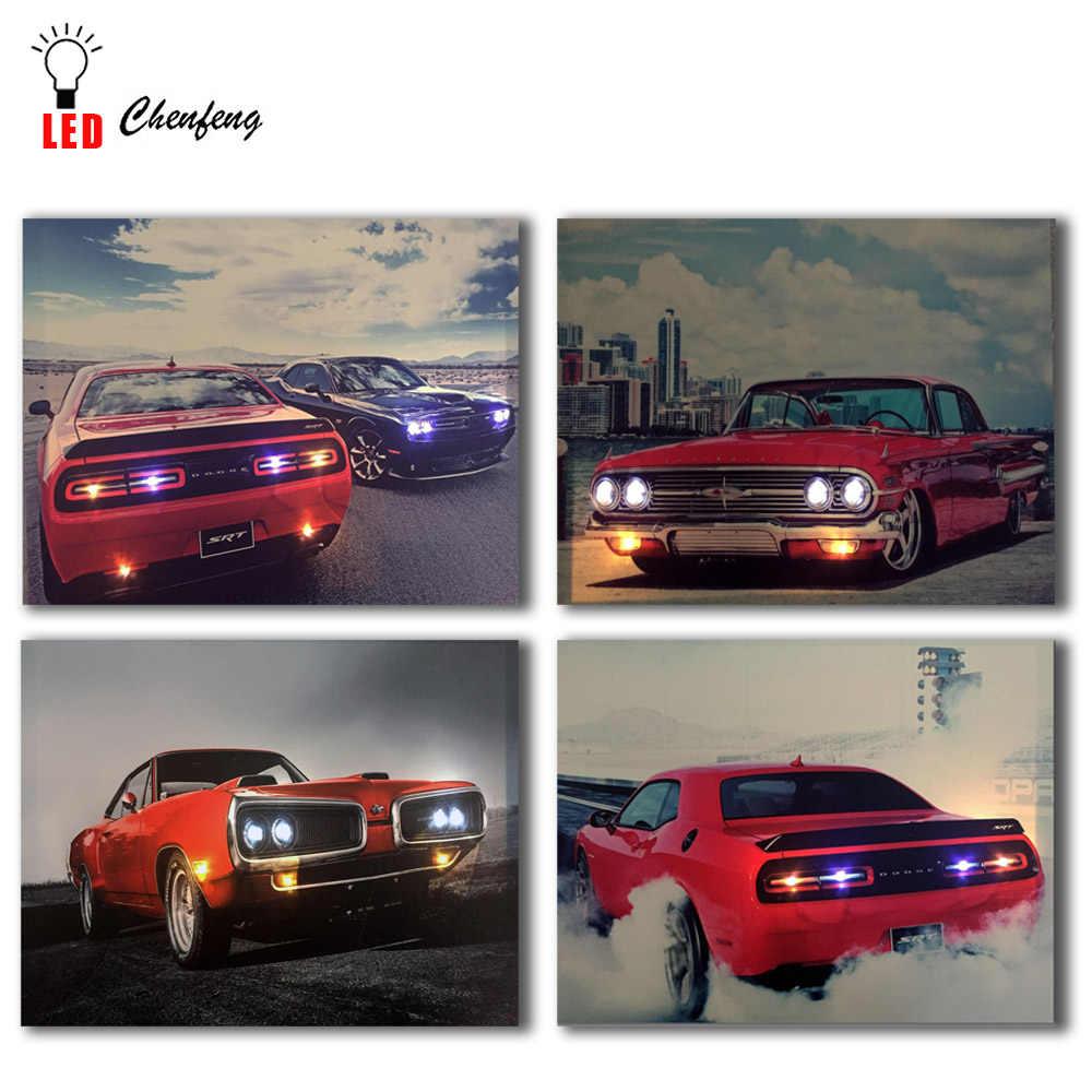 Car Wall Print Impala Tail Lights Canvas Set Chevy Impala Poster Car Wall Decor Car Poster Car Canvas Set Chevy Impala Wall Art