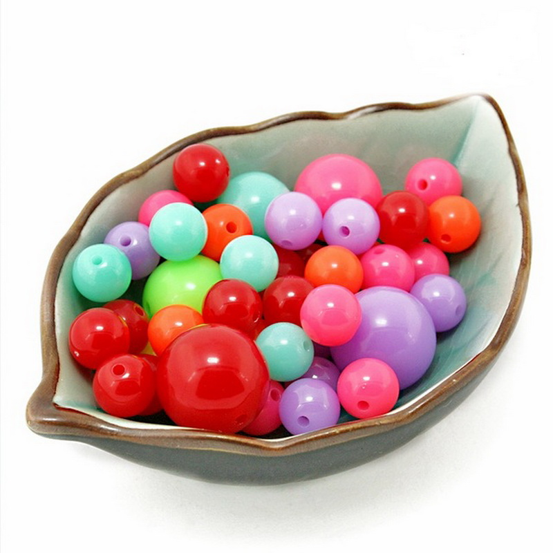 8/10/12/14/16/18mm Acrylic Beads Beautiful Spacer Loose Beads Neon Round Beads For Jewelry Making Necklace Bracelet Diy Commodities Are Available Without Restriction Beads & Jewelry Making