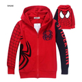 New Spiderman Boys Coat Embroidered Hooded Boys Jacket Spring And Autumn Cartoon Cotton Baby Clothes Children Kids Clothing
