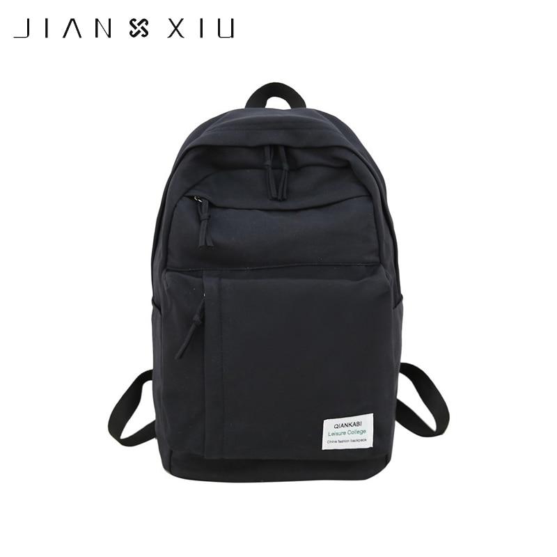 JIANXIU Preppy Style Canvas Backpack High School Girls Schoolbag Women's Casual Large Capacity Backpack