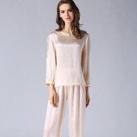Genuine Silk Pajamas Female Spring New 100% Silkworn Silk Sleepwear Women Long Sleeve Tops Pants Two Piece Pyjama Sets T77132