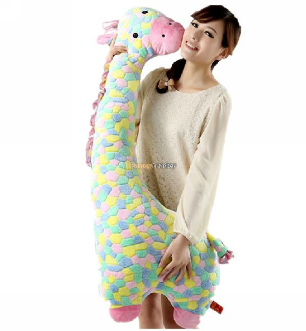 Fancytrader Novelty Toy! 49'' / 125cm Stuffed Soft Giant Plush Colorful Giraffe Toy, Lovely Gift for Kid, Free Shipping FT50124 fancytrader 2015 novelty toy 24 61cm giant soft stuffed lovely plush seal toy nice gift for kids free shipping ft50541