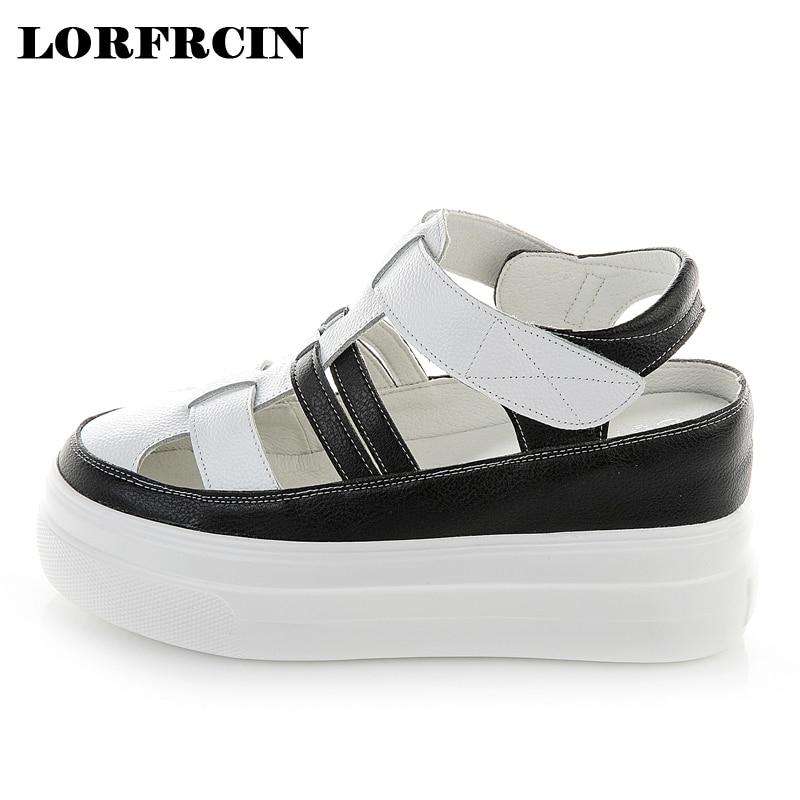 2954c3ae384f 2018 Buckle Strap Women Gladiator Sandals Genuine Leather Summer Shoes  Platforms Women Sandals Plus Size 34
