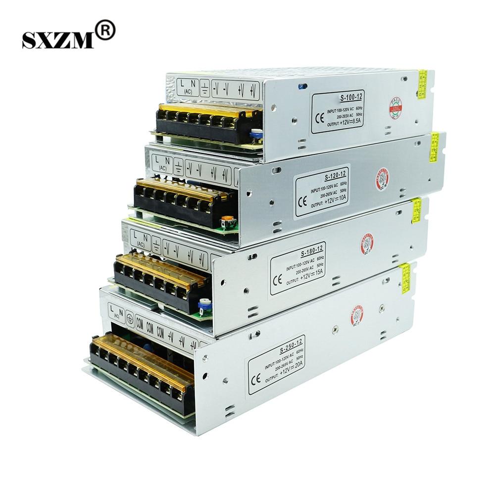 SXZM LED transformer AC100-240V to DC12V8.5A 10A 15A 20A indoor power supply for 3528 5050 5730 led strip light led driver ac 100 240v to dc 12v 5a power supply charger adapter transformer 220 v 12 v converter for 5050 3528 led strip light