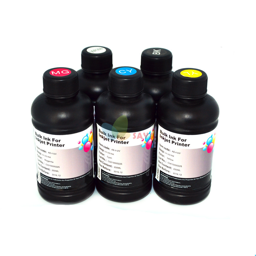 5x250ml B/C/M/Y/White LED UV INK For UV Flatbed Printer for Epson UV Printing Machine Curable Ink for Epson Printer