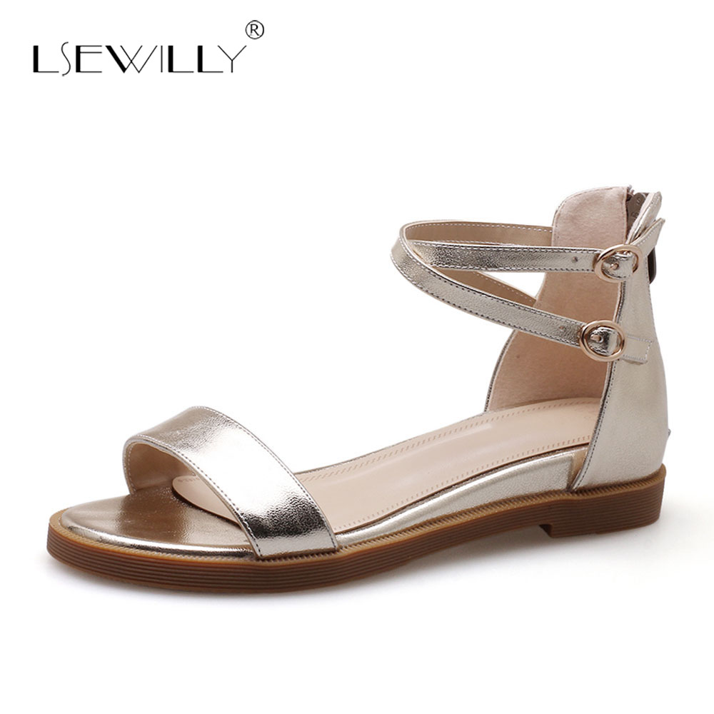 Lsewilly Gladiator Sandalias Sweet Shoes Women Sandals Shoes Elegant Student Women Flat Heels Footwear Open Toe Ankle <font><b>Strap</b></font> <font><b>S226</b></font> image