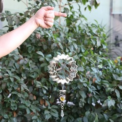 HOT Stainless steel mirror crystal ball stereo rotating wind chime outdoor garden motor wind hanging ornaments (Dragonfly)