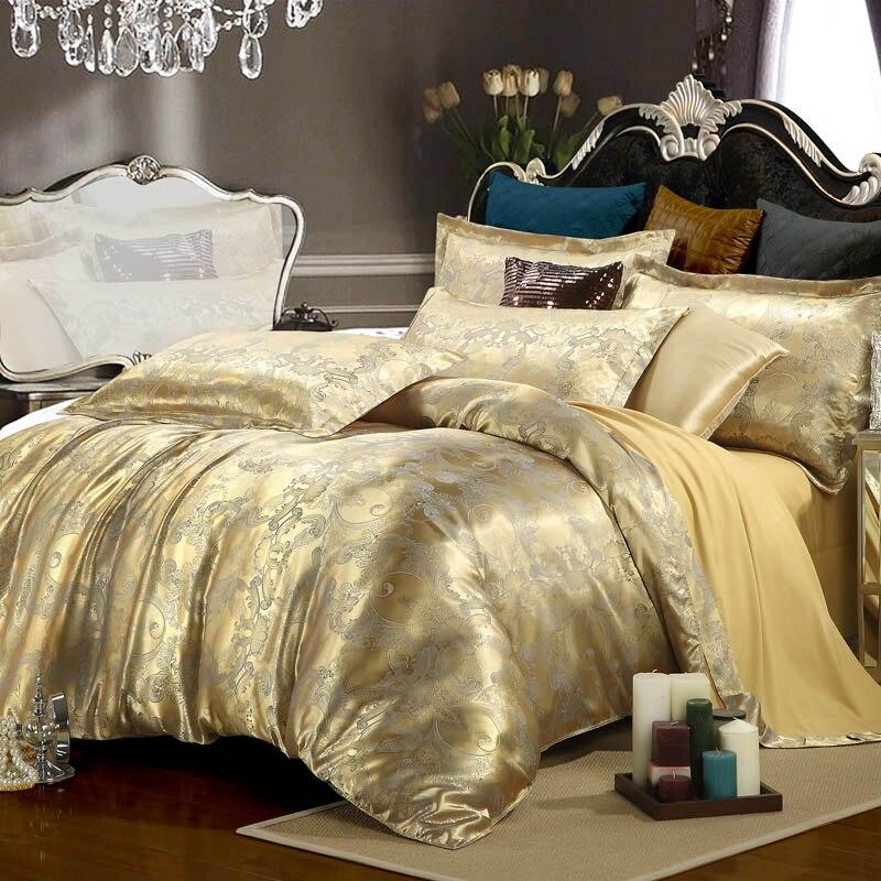 luxury bedding set silk 4pcs bedclothes bed linen sets queen king size quiltduvet cover
