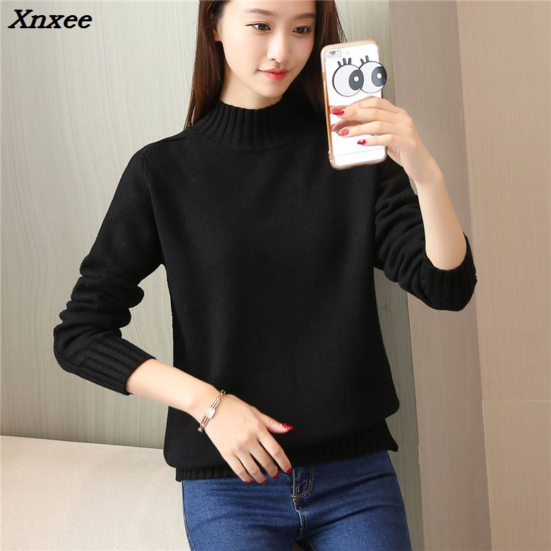 Xnxee women fashion sweater new autumn and winter loose plate semi high collar Xnxee in Cardigans from Women 39 s Clothing