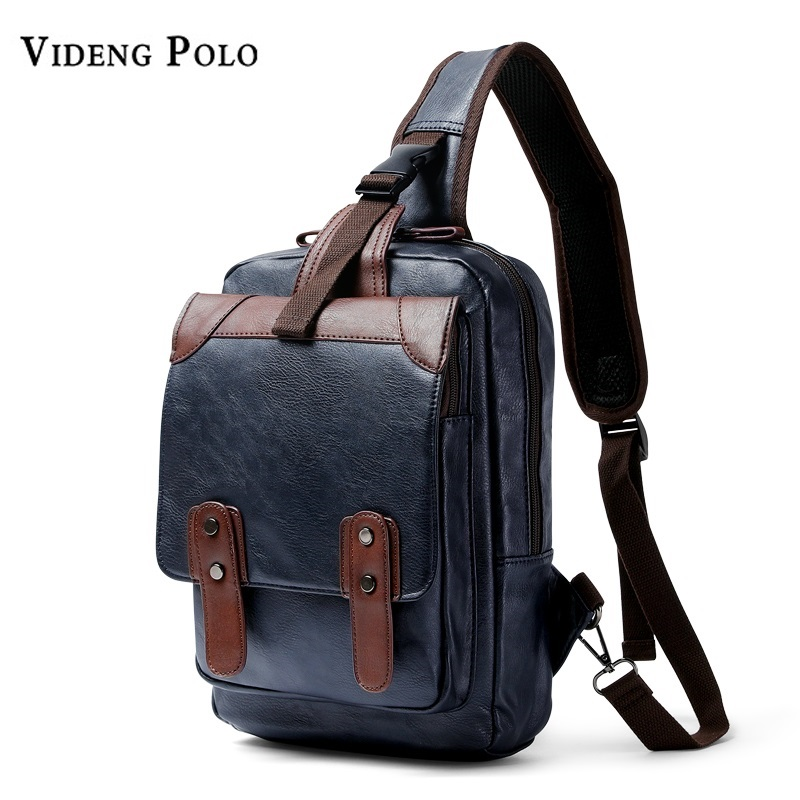 New Luxury Brand Crossbody Bags for Men Chest Bag Pack Leather Casual Messenger Bag Waterproof Single Strap Shoulder Bag Male