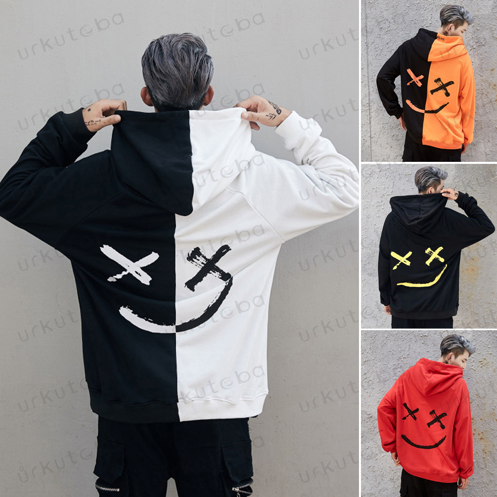 2019 New Men Hoodies Sweatshirts Smile Print Headwear Hoodie Hip Hop Streetwear Clothing Us size Plus Size 3XL