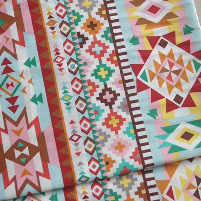 Vintage Printing Pattern Cotton Linen Fabric Patchwork Sewing Diy