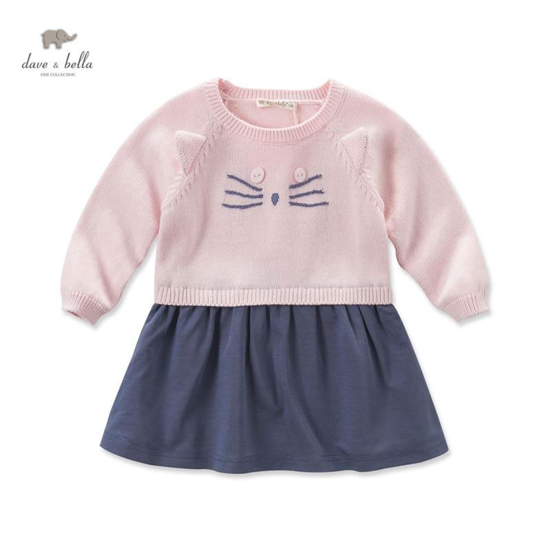 DB3945 dave bella autumn baby girls pink dress cat dress