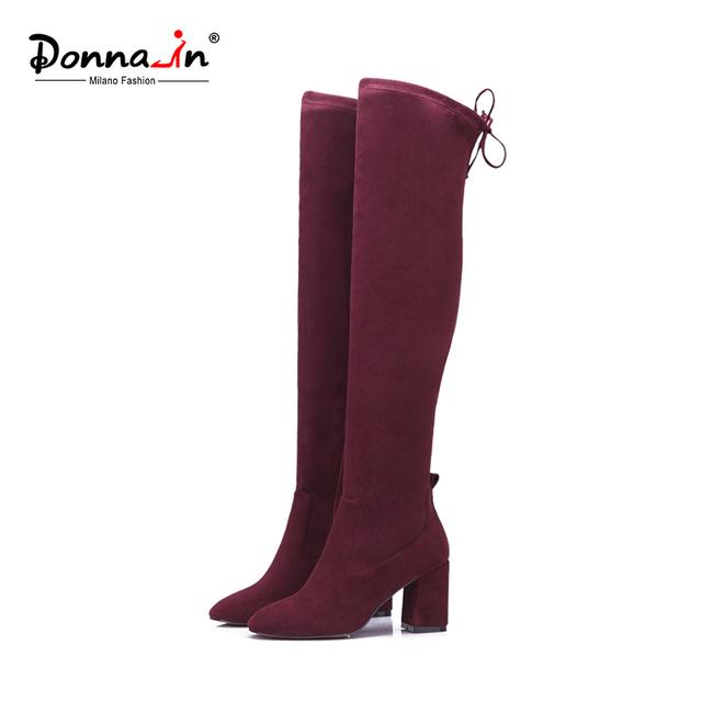 Donna-in over-joelho botas de microfibra elástica mulher botas dedo do pé quadrado grossas de salto alto senhoras botas