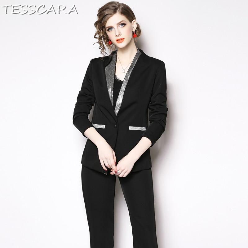 TESSCARA Women Elegant Sequin Blazer Designer Pant Suit Set Interview Suits blazer High Quality Female Office