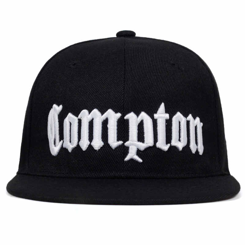 Compton Black Embroidered Flat Bill Snapback Baseball Cap Unisex Hats