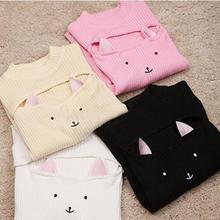 Кавайные кошачьи ушки, выдалбливают грудь, женские сексуальные свитера, Harajuku Пуловеры в стиле Лолиты, водолазка с воротником, вязаные свитера