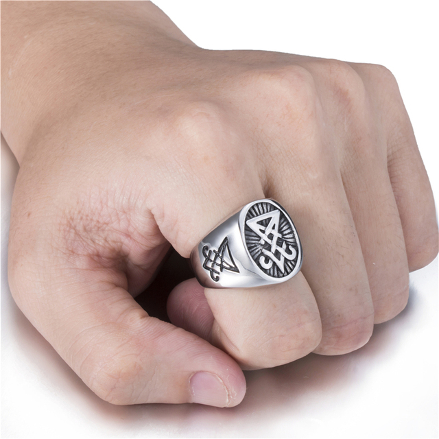 Mens Stainless Steel Ring with Satan Symbol 5