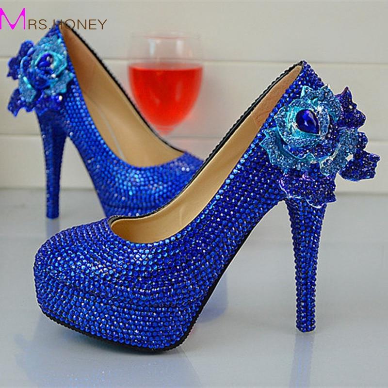 ФОТО 2016 Handmade Fashion Royle Blue Rhinestone Wedding Shoes  Round Toe Slip-on High Heel Stilettos Prom Party Pumps Plus Size 12