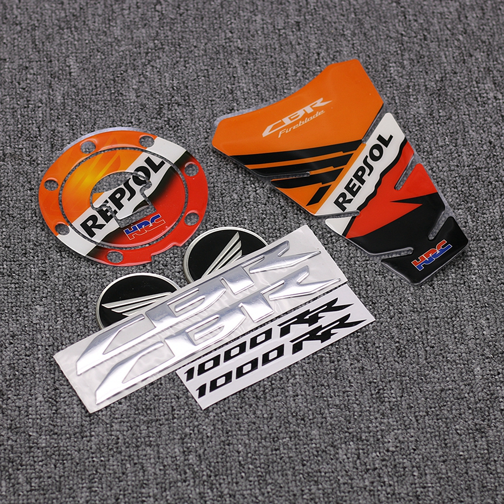 Motorcycle 3D Tank Cover Wheel Emblem Badge Pad & Tank Cap Sticker Decal For Honda CBR1000RR REPSOL HRC 2008-2011
