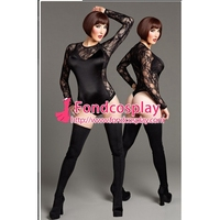 Envío libre gothic lolita sissy maid negro body suit dress cosplay traje hecho a medida