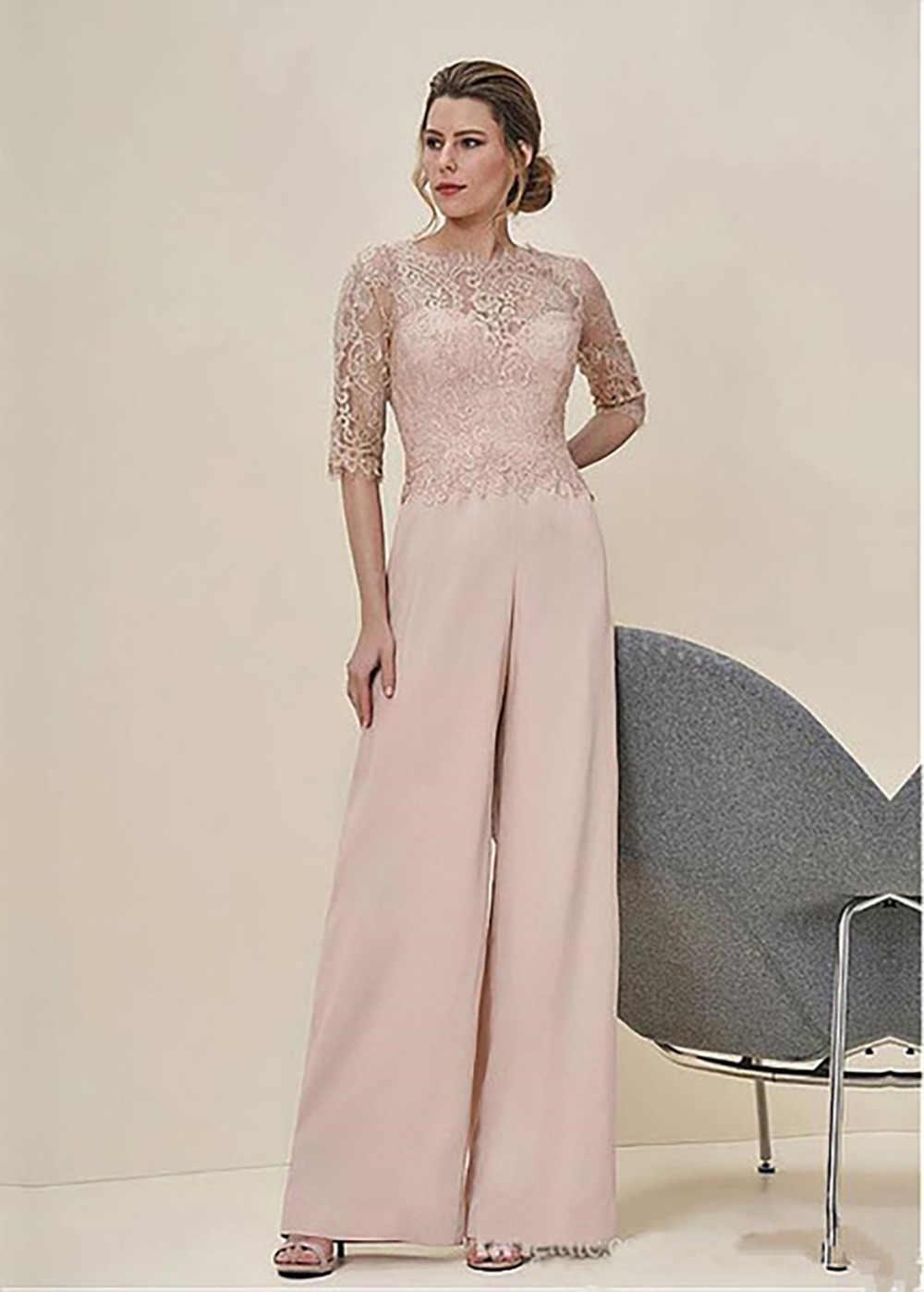 e930b3d6144 New Arrival 2018 Jumpsuits Lace Pastel Half Sleeves Elegant Wedding Guest  Dress Zipper Back Long Mother