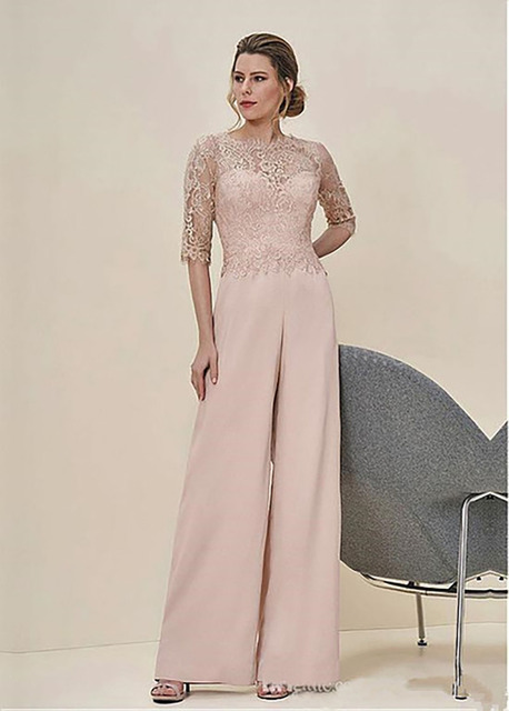 9992e7f300c New Arrival 2018 Jumpsuits Lace Pastel Half Sleeves Elegant Wedding Guest  Dress Zipper Back Long Mother Of The Bride Pant Suits