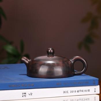 Yixing Dark-red Enameled Pottery Teapot Manual Make Raw Ore Qinzhou Mud Half A Month Teapot Household Tea Set Mixed Batch