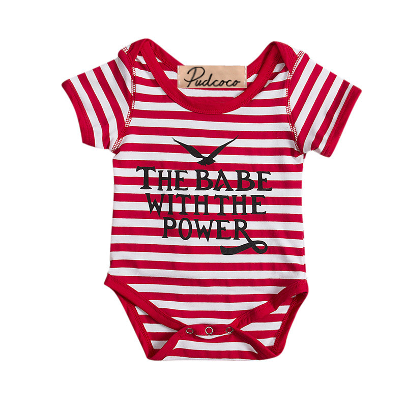 Kid Baby Girl   Romper   Infant Toddler Jumpsuit eagle the babe with the power Letter Red Striped Cotton Short Sleeve Clothes Outfit