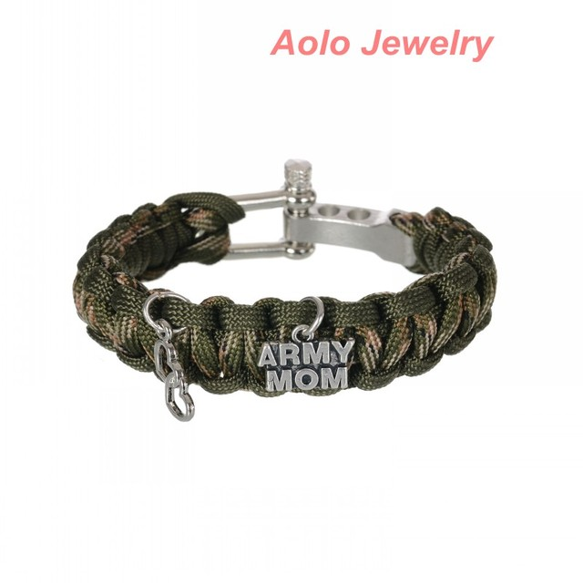 Army Mom Heart Charm Paracord Bracelet New Survival Accessory Outdoorsmen Military Veteran Nature Camo