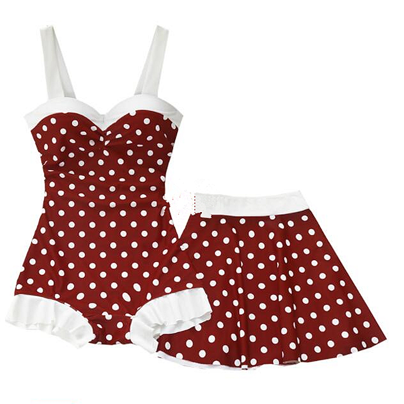 New Women Retro Red Dot Two Piece Swimsuit Skirt Bathing Suit Swimming Beach Wear Summer Ladies Sexy Swim Suits Swimwear Tankini